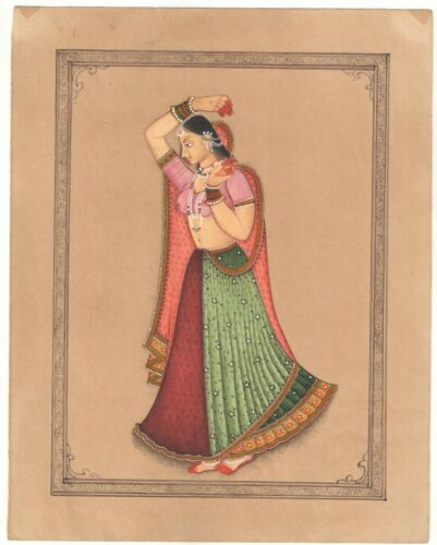 Indian+Miniature+Art+Painting+Beautiful+Indian+Queen+Fine+Watercolor+Miniature
