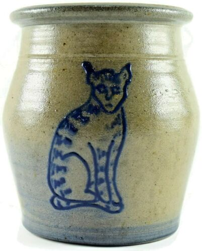 Rowe Pottery Works Salt Glazed Blue Cat Kitten 1993 Crock Jar 5""