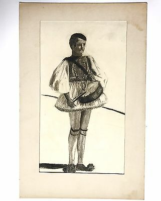 A Vintage Drawing of A Drummer Boy In Royal Fashion Dated 1948