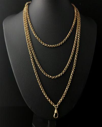 Antique Georgian longuard chain, Pinchbeck, muff chain necklace