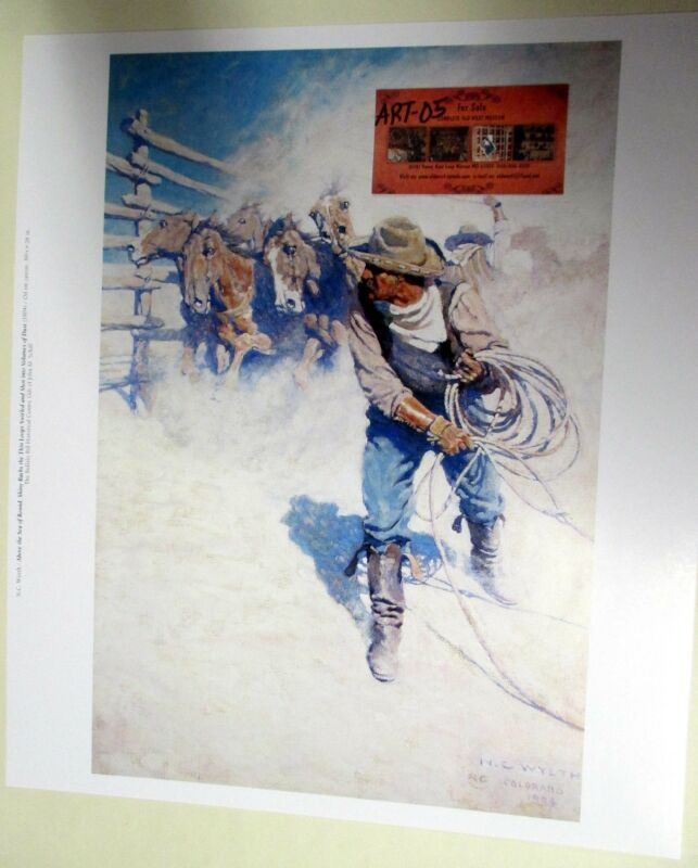 COWBOY Throwing a Rope by NC WYETH Print from Buffalo Bill Museum