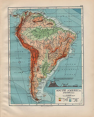 1900 VICTORIAN MAP ~ SOUTH AMERICA PHYSICAL MOUNTAINS OF PERU BRAZIL