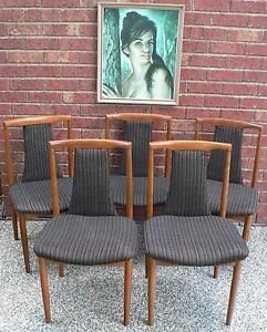 5 x Retro Vintage Dining Chairs by Burgess circa 1970's Mitcham Whitehorse Area Preview