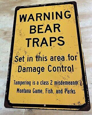 """Warning Bear Traps Montana Vintage Rustic Retro LARGE Metal Sign 12"""" x 18"""""""