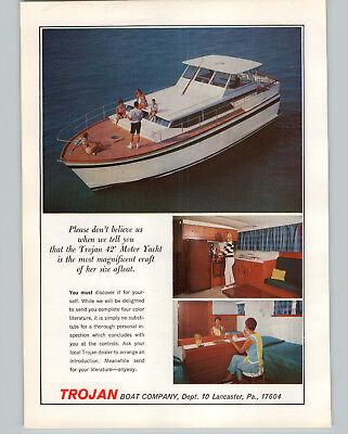 1966 PAPER AD Trojan Motor Boat 42' Yacht Kitchen Bedroom Photo