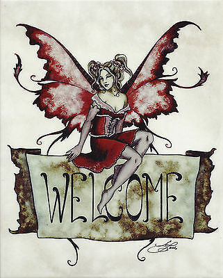 WELCOME Amy Brown Fairy Ceramic Art Wall Tile Plaque faery faerie ()