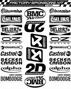 BMW S1000RR Sponsor kit Decals / Stickers BMW in BLACK printed set belly pan