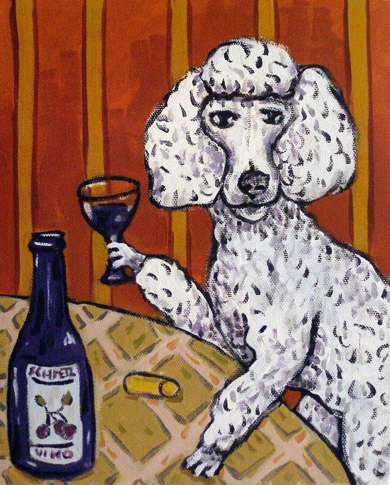 Poodle wine bar painting dog art animal ...