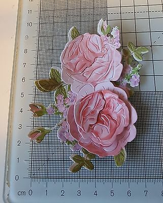 PK 8 Die Cuts - Tattered Lace Charisma Rose & Decoupage 10 colour choices