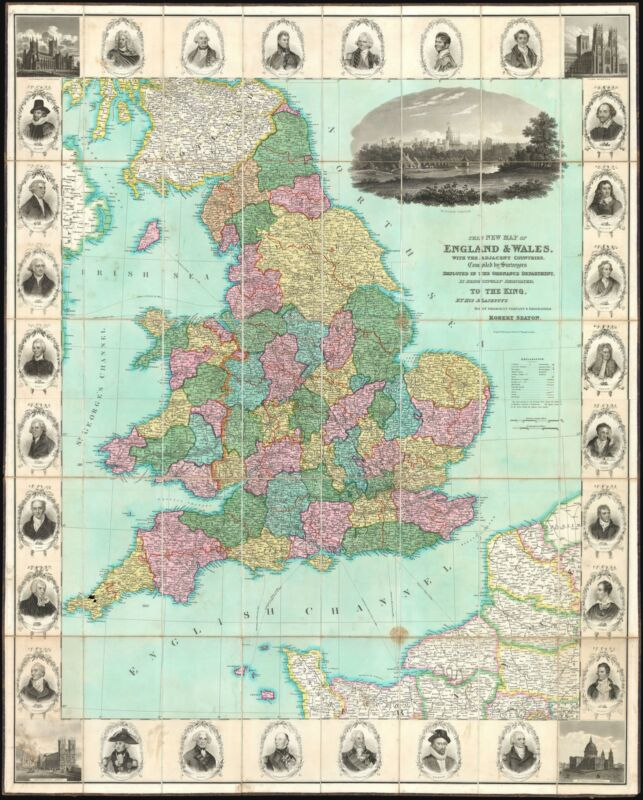 1830 Seaton Large-Format Case Map of England and Wales