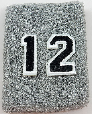 One Custom Number Gray Black Wristband Sweatband Football Baseball Basketball