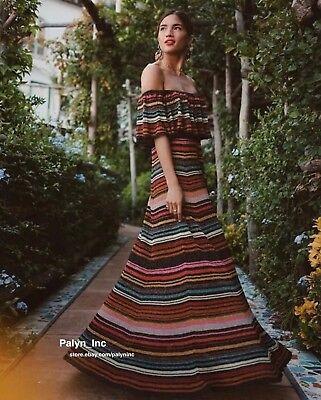 Nwt Zara Aw17 Multicoloured Off Shoulder Striped Dress Maxi Bloggers  S M