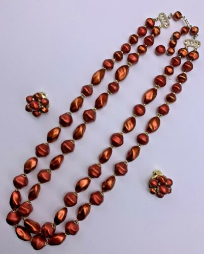 """22"""" Double Strand Necklace & 7/8"""" Clip Earrings Rust-Colored Gold-tone 7108"""