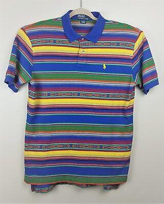 Polo Ralph Lauren Mens Multicolored Shirt Large Tribal Aztec Print Striped