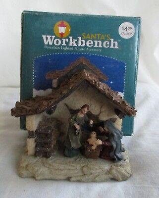 Santa's Workbench Christmas Village Outdoor Manger Scene 3-1/2