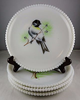 Four Westmoreland Beaded Edge Milk Glass Plates - Hand Painted - Assorted Birds