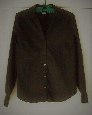H & M Blouse Shirt 6 Black Button Front Fitted Long Sleeve Stretch Cotton