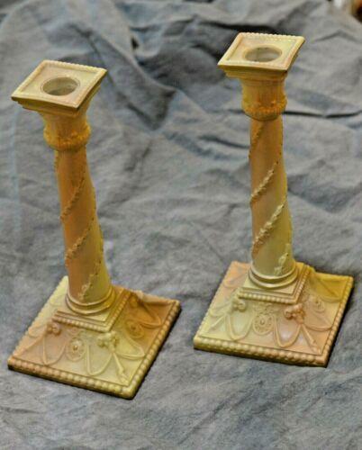 Pair of Royal Worcester Corinthian Column Candlesticks, circa 1885