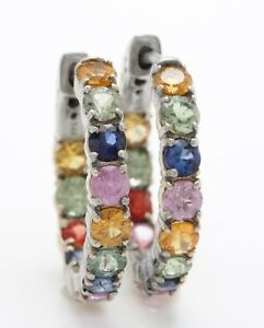 6.00 Carat Natural Ceylon Multi-Color Sapphire in 14K Solid White Gold Earrings