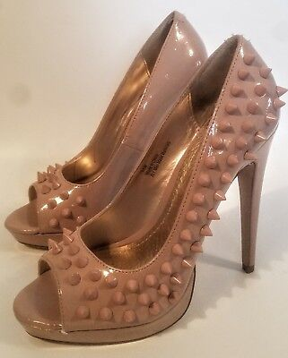 DIBA 7.5M Nude Pink Patent Leather Stud Spiked Pumps MSRP $139 Like Loubs! (Pink Patent Leather Pumps)