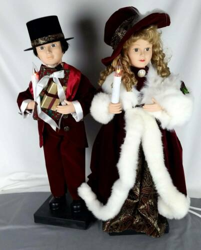 "Traditions 27"" Lighted Animated Victorian Carolers Boy & Girl 1990"