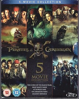 PIRATES OF THE CARIBBEAN 5-MOVIE COLLECTION New BLU-RAY Set 1-5 Disney (Pirates Of The Caribbean 5 Blu Ray)