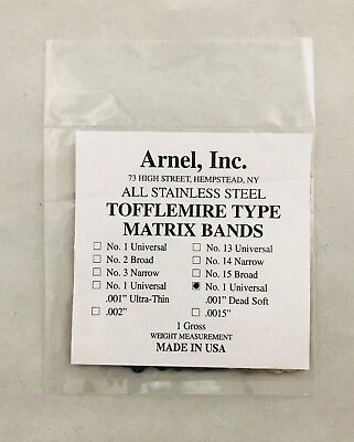 Tofflemire Matrix Bands .001 Dead Soft 1 Universal Dental - 144pack