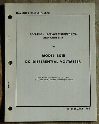 Fluke Model 801b Differential Voltmeter Manual