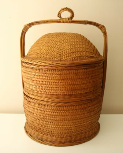 Chinese WEDDING BASKET Woven wicker 3 pieces Bamboo Rattan 3 Section Vintage
