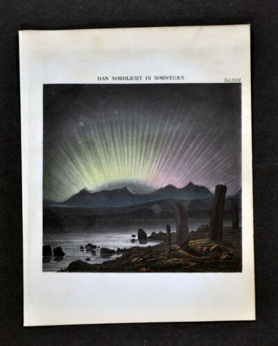 1872 Muller Celestial Print - Northern Lights Aurora Borealis Norway - Astronomy