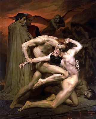 William Adolphe Bouguereau, Dante and Virgil in Hell, Nude Male, 20x16 CANVAS