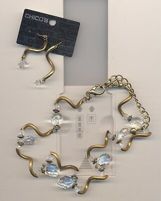 CHICO'S GLASS BEADS NECKLACE & MATCHING PIERCED DANGLING EARRINGS