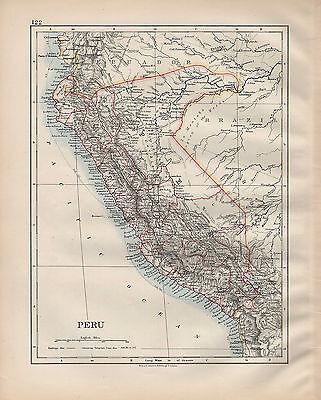 1900 VICTORIAN MAP ~ SOUTH AMERICA ~ PERU YCA LIMA AMAZONAS
