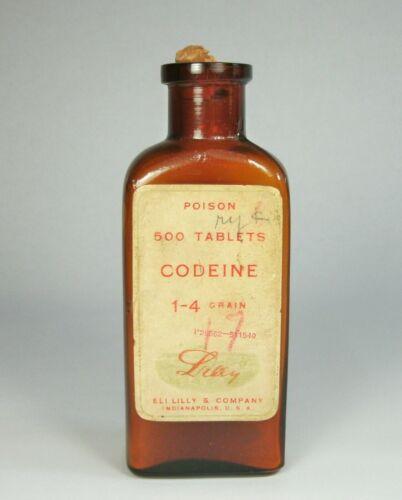 d Vintage 500 Tablet CODEINE BOTTLE Poison Brown Glass w/Cork Paper Labels EMPTY