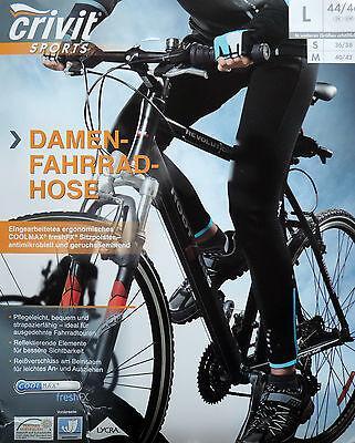 Damen Fahrradhose Lang Winddicht S M L Radhose Sitzpolster Hose Sporthose NEU