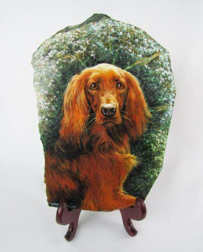 """Artist Signed Irish Setter Dog Original 14"""" Painting on Marble Slab - Fabulous!"""