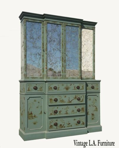Vintage Chinoiserie Asian Teal China Hutch Cabinet w Gold Veined Mirrors
