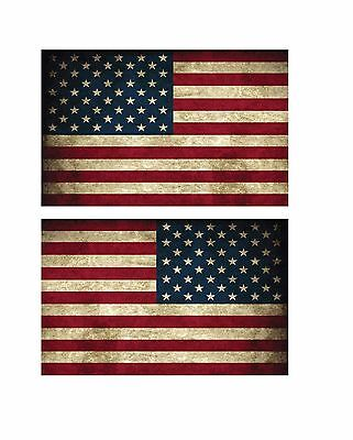 """(1 pair) Small  5"""" USA American Flag Vintage Style Right and Left Decal Sticker"""