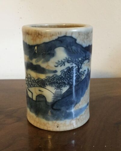 Antique Chinese Porcelain Brush Pot Blue Landscape Crackle Glaze 19th c. Vase