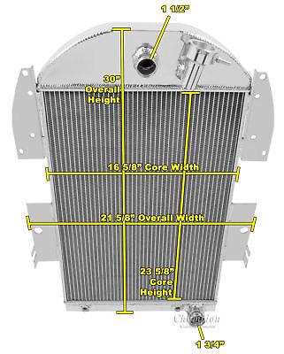 3 Row All Aluminum Performance Radiator For 1934   36 Chevy Truck V8 Conv