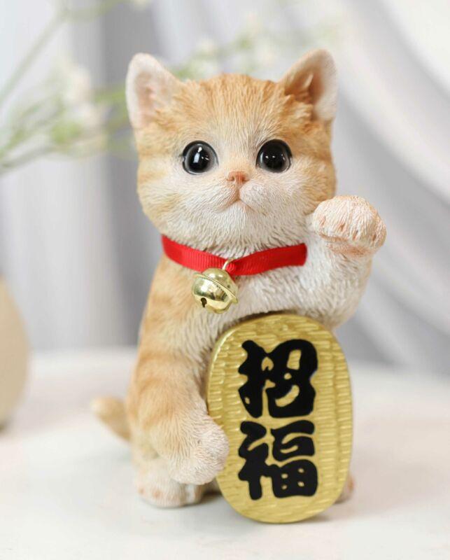 Japanese Luck And Fortune Charm Beckoning Orange Tabby Cat Maneki Neko Figurine
