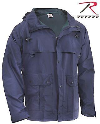Nylon Rain Jacket - Rothco Mens Navy Blue Waterproof Microlite PVC Coated Nylon Rain Coat Jacket