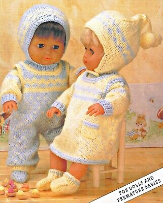 """Knitting Pattern DK Dolls Clothes  12 16 20"""" Boys & Girls Outfits"""