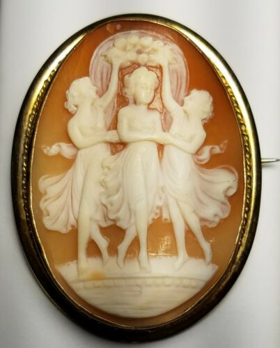 ESTATE YELLOW GOLD FILLED THREE GRACES CAMEO PIN or PENDANT-LARGE-FREE USA SHIP