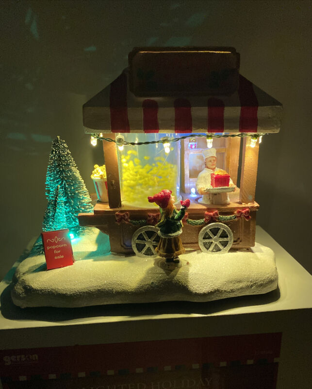 New Animated Popcorn Wagon Lighted Carnival Christmas Village Girl Man Tree