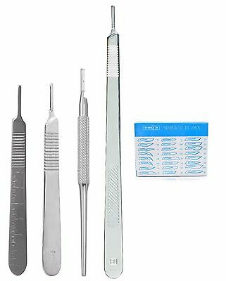 4 Assorted Scalpel Knife Handle 4 100 Surgical Sterile Dissecting Blades 22