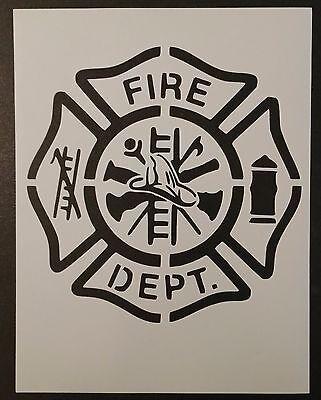"Fire Department Logo Symbol Patch Emblem 8.5"" x 11"" Stencil FAST FREE SHIPPING"