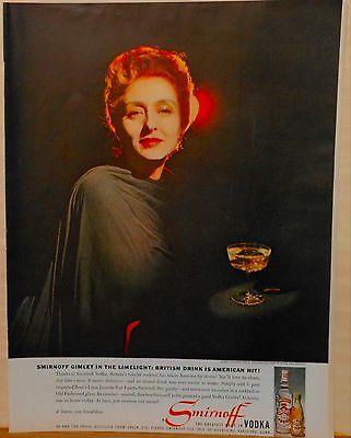 1959 magazine ad for Smirnoff Vodka - Celeste Holm with Smirnoff Vodka gimlet