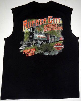 dson Black Cotton Sleeveless Shirt Akron Ohio Rubber City (Rubber City Harley)
