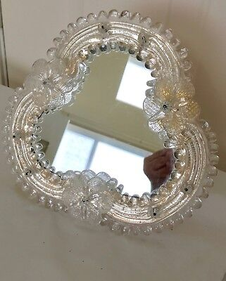 VINTAGE VENETIAN GLASS VANITY MIRROR Stands Up or Hangs on Wall